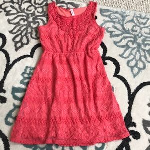 Girls coral lace dress